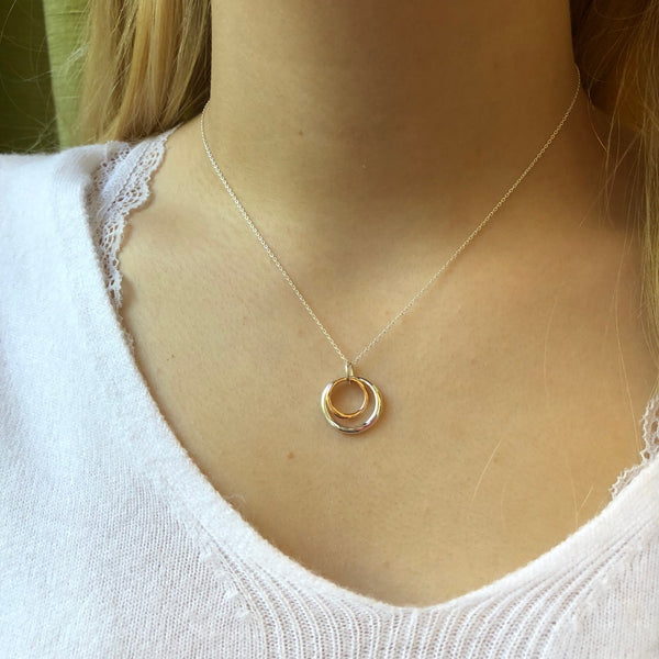 Two Ring Necklace with Rose Gold