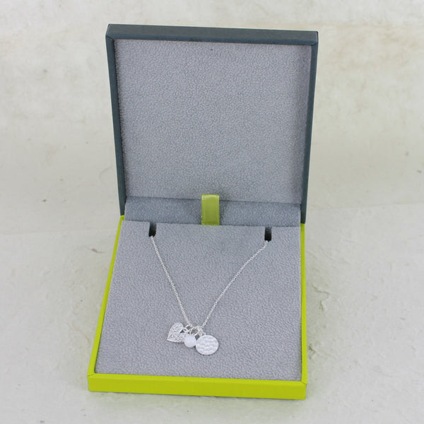 Sterling Silver Heart Charms Necklace
