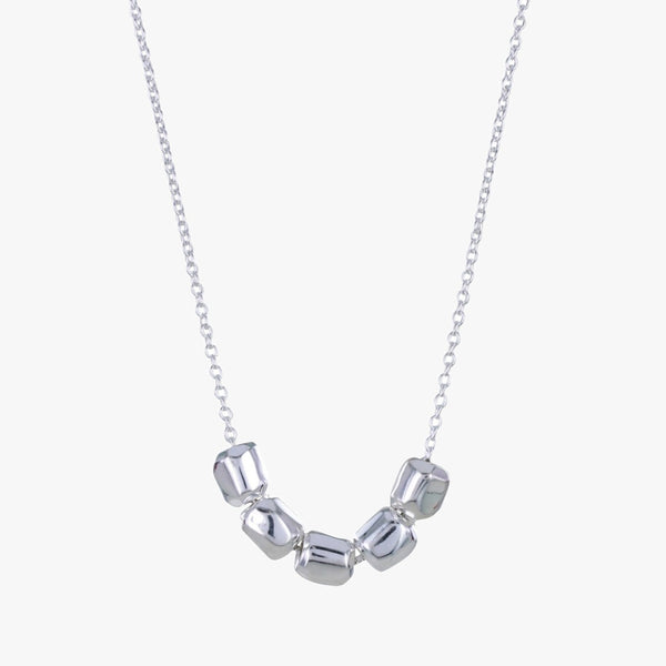Sterling silver necklace chain with 5 high shine silver 'nuggets' sat at the centre