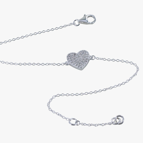 Sterling Silver Double Sided Pavé Heart Bracelet