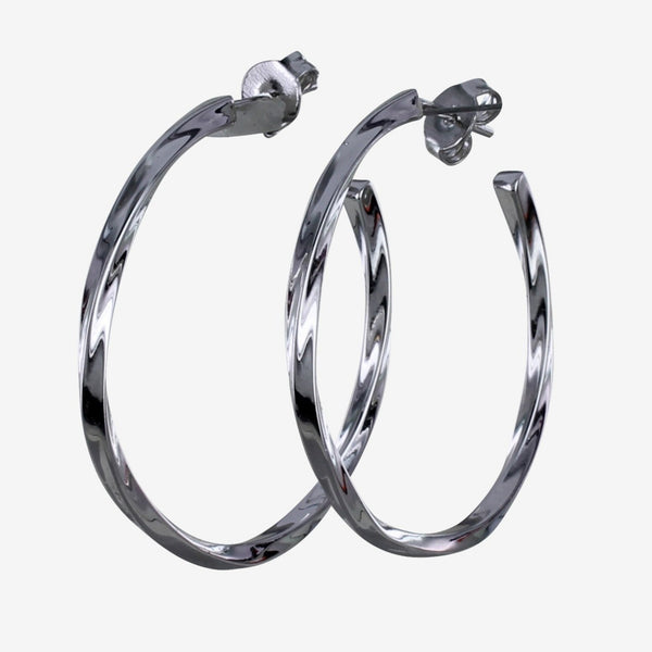 Twister Hoop Earrings Sterling Silver