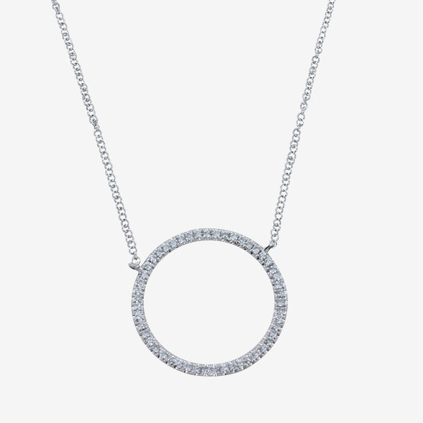 Large Diamond Open Circle Necklace