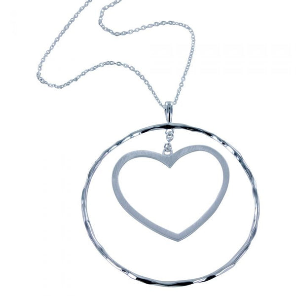 Sterling silver hammered circle with hanging heart in the centre