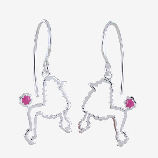 Sterling silver silhouette poodle hook earrings with a pink enamel detailed tail