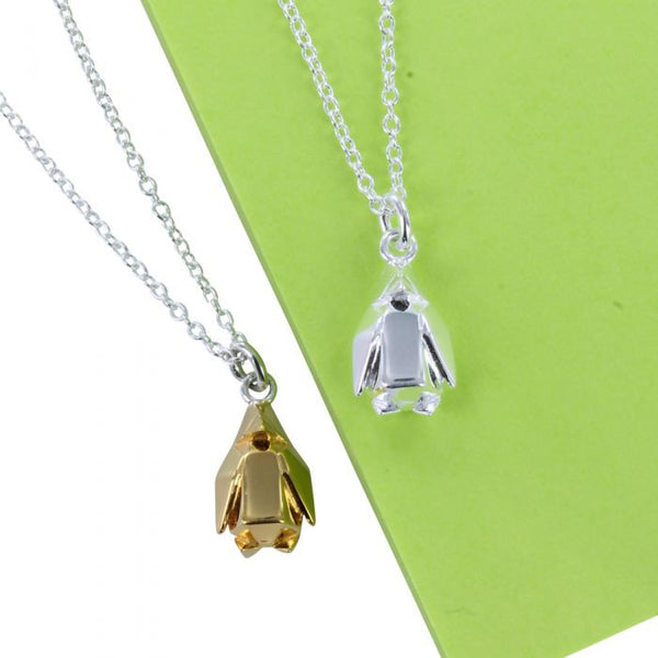 Sterling silver origami Penguin Necklace