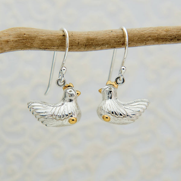 Sterling silver chicken earrings with 18ct gold vermeil detail on a silver hook