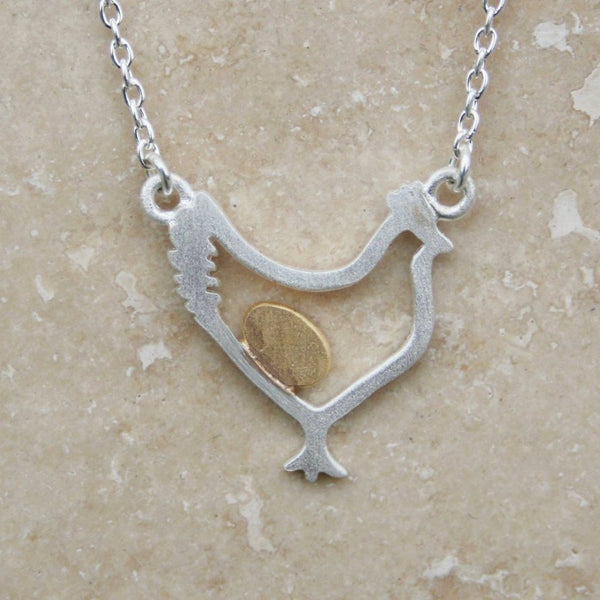 Sterling Silver  with Gold Vermeil  Mother Hen Necklace