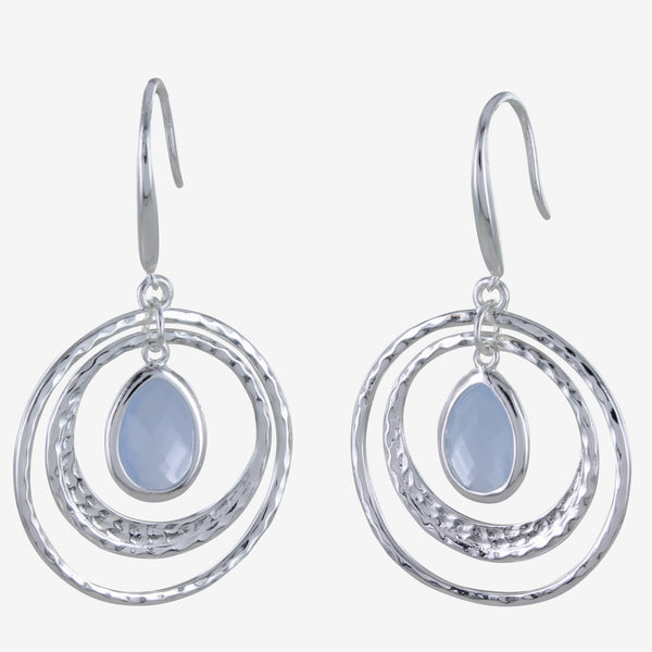 Sterling silver hammered discs with an aqua stone hanging from 2 hook earrings