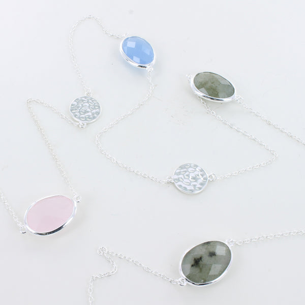 Silver Candy 5 Stone Mixed Necklace