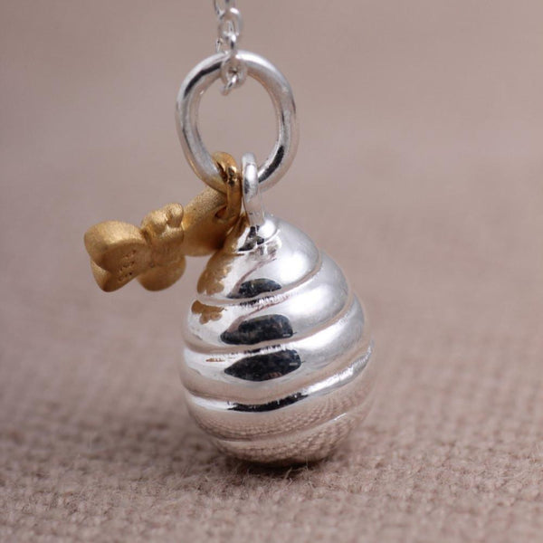 Sterling silver honey pot necklace with 18ct gold vermeil detail bee on a chain