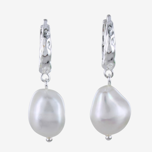 Pearl & Hoop Earrings Silver