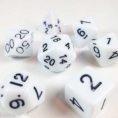 Chessex Polyhedral 7-Die Set: Opaque White w/Black