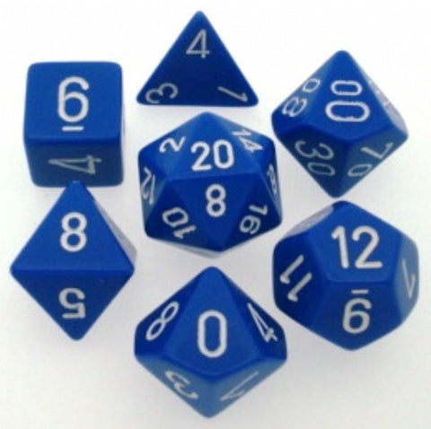 Chessex Polyhedral 7-Die Set: Opaque Blue w/White