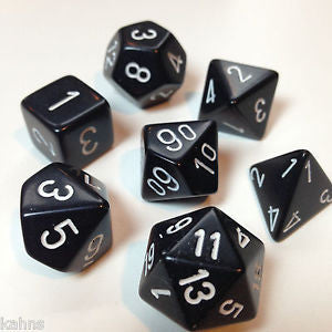 Chessex Polyhedral 7-Die Set: Opaque Black w/White