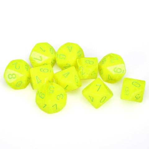 Chessex D10 10-Die Set: Vortex Electric Yellow w/Green