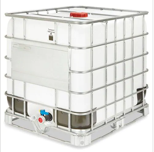 1000L IBC Food Grade Tote <br> In Steel Cage <br> 265 Gallons
