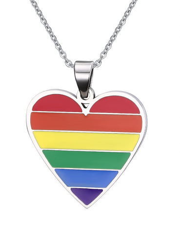 Rainbow heart shaped pendant necklace pride picks aloadofball Image collections