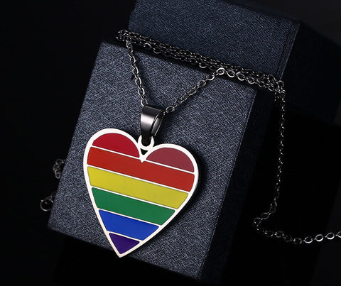 Rainbow Heart Shaped Pendant Necklace - Pride Picks