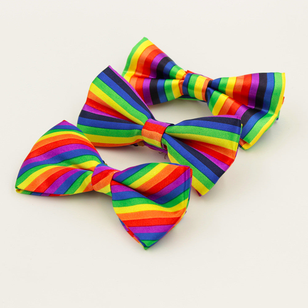 Colorful Rainbow Striped Bow Tie