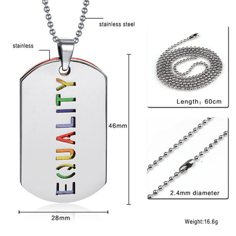 Equality Rainbow Dog Tag Necklace - Pride Picks