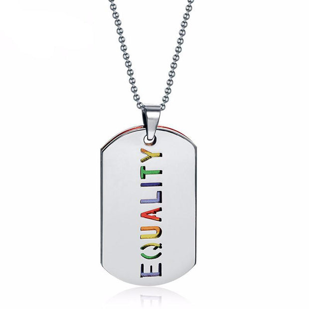 Equality Rainbow Dog Tag Necklace