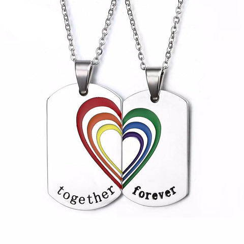 Couples Rainbow Necklace Set - Pride Picks