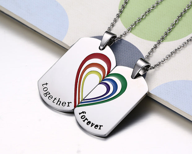 Couples Rainbow Necklace Set