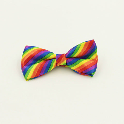 Colorful Rainbow Striped Bow Tie - Pride Picks