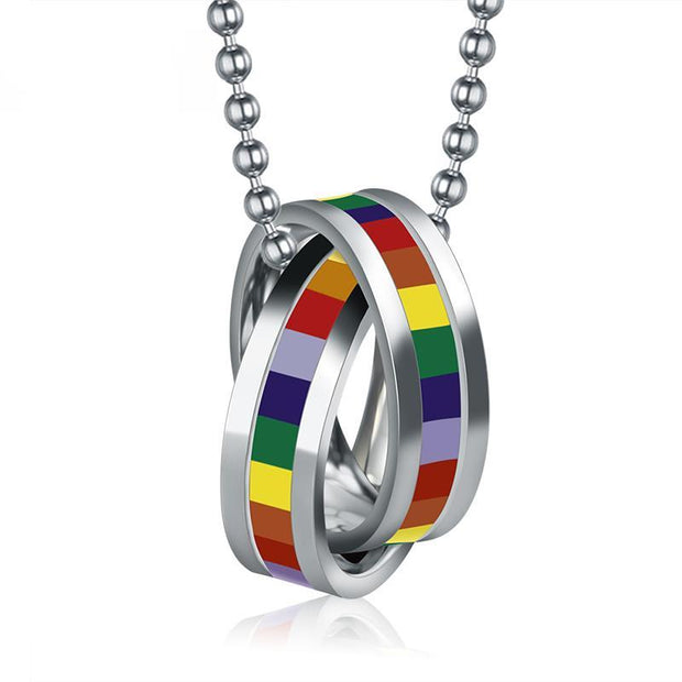 Rainbow Double Loop Pendant Necklace - Pride Picks