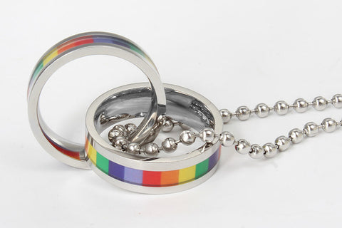 Rainbow Double Loop Pendant Necklace