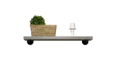 "Industrial Rustic Floating Shelf with Painted Steel Supports (12"" Deep)"