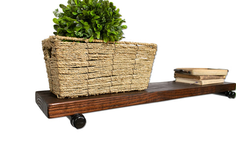 "Industrial Rustic Floating Shelf with Painted Steel Supports (8"" Deep)"