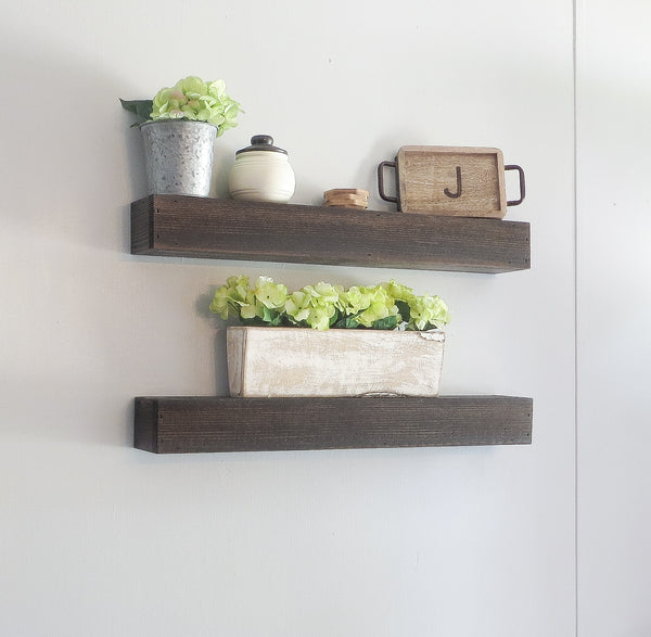 Floating Shelf Set - Dark Stain - 30""