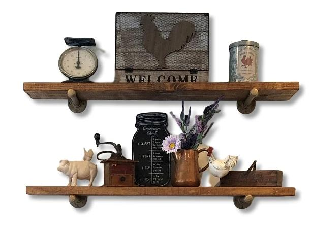 "Industrial Rustic Floating Shelf with Painted Steel Supports (10"" Deep)"