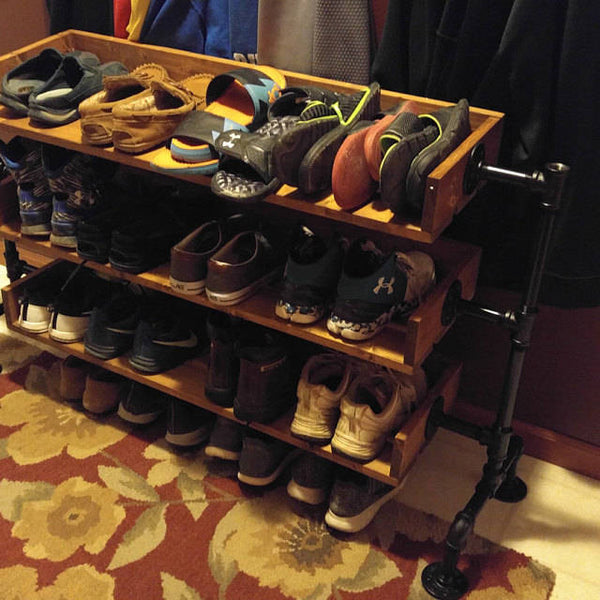 Industrial Pipe Shoe Rack