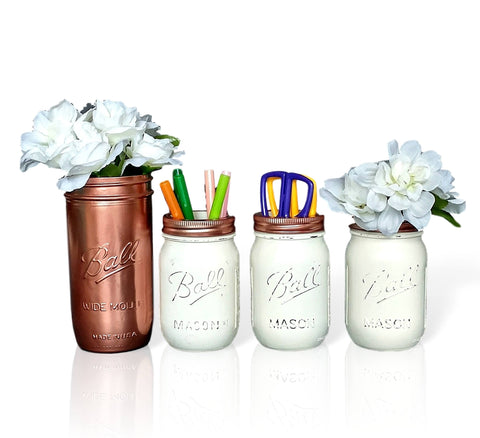 Mason Jar School Decor, Rose Gold and White Organizer