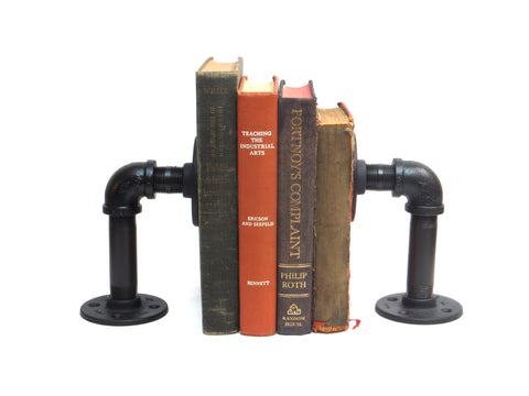 Set of Industrial Bookends, Black Iron Painted Pipe Bookends, Steampunk Industrial Decor