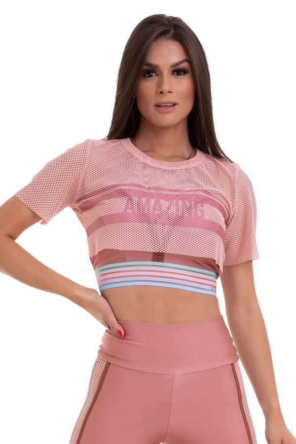 Mesh Crop Top AMAZING - ROSE