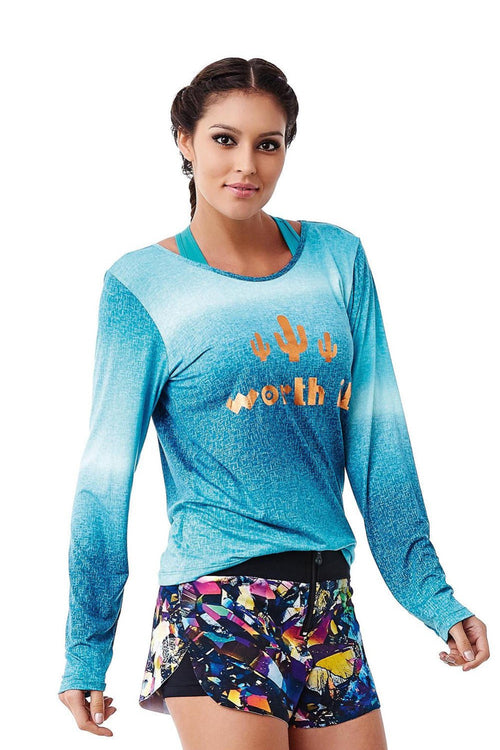 "CajuBrasil USA Luxury Fitness 6205 Sale Long Sleeve Top ""WORTH IT"" - Jade"