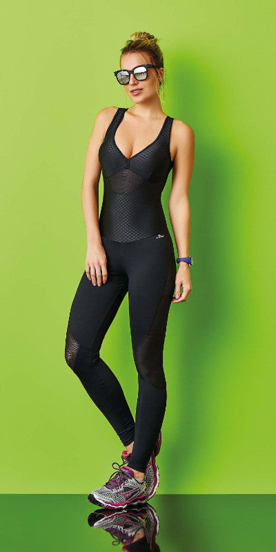 CajuBrasil USA Brazilian Luxury Fitness 7575 Slimming Compression Supplex Jumpsuit Black