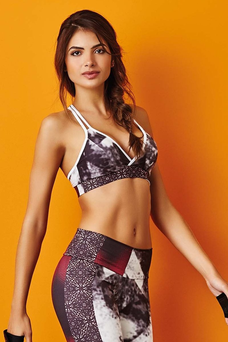 CajuBrasil USA Brazilian Fitness Top PRINT - Padded Push Up Bra