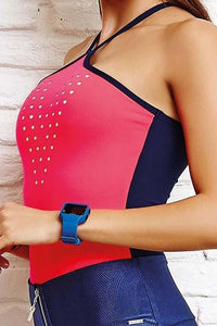 CajuBrasil USA Brazilian Fitness Bodysuit BODY 8121 Unique - Coral Navy