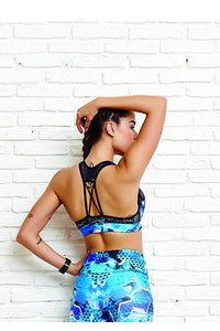 CajuBrasil USA Brazilian Fitness Top PRINT - City Color 8159 Strappy Compression