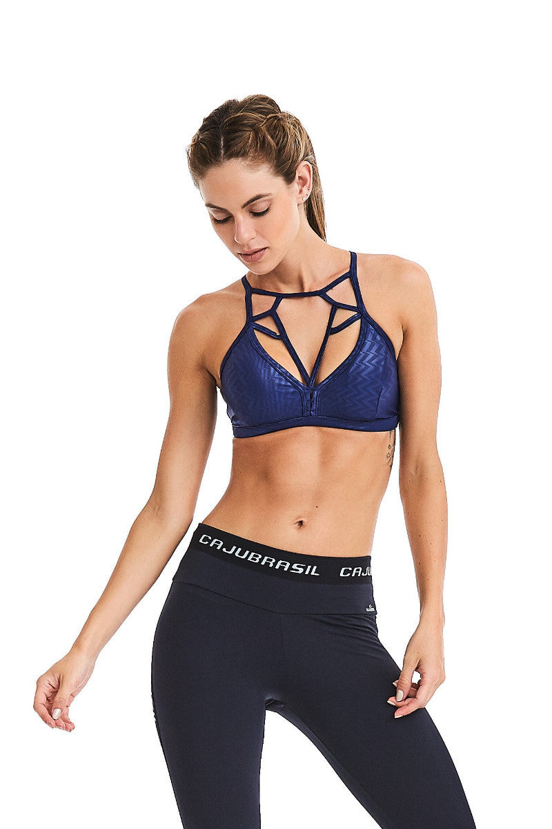 CajuBrasil USA Brazilian Luxury FashionFitness Bra Top Strappy Padded Navy Blue 9018