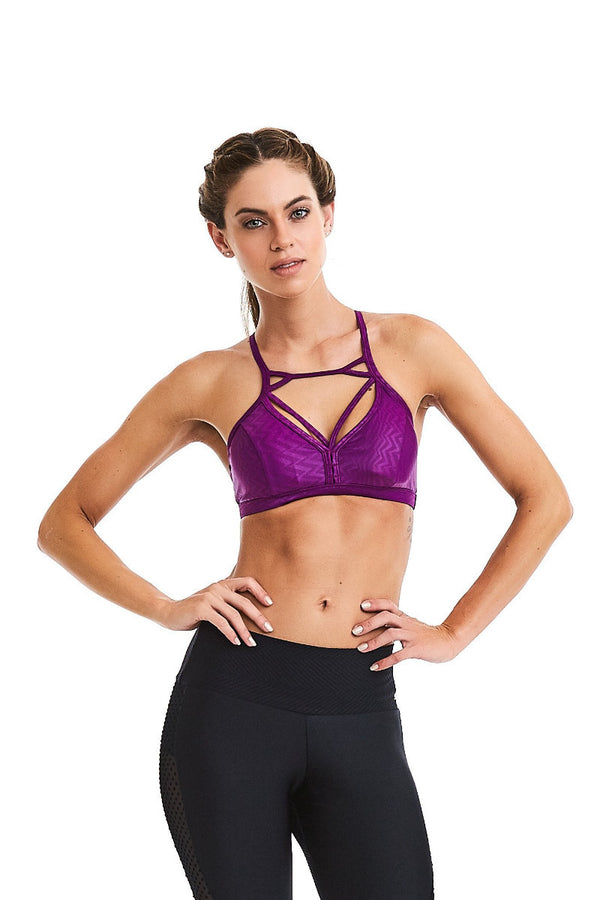 CajuBrasil USA Brazilian Luxury FashionFitness Bra Top Strappy Padded Purple 9018