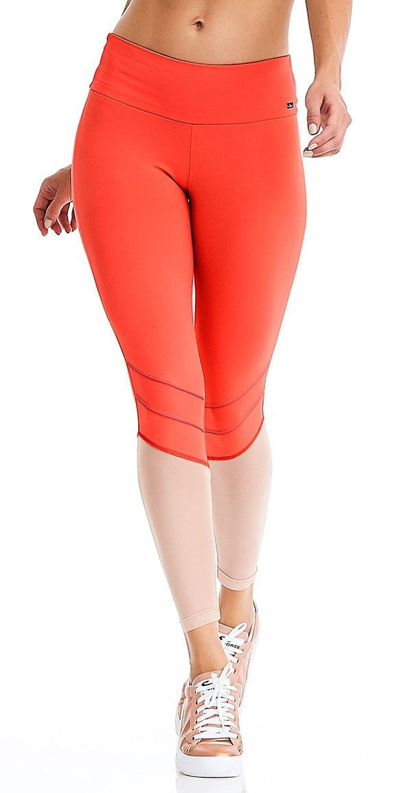 CajuBrasil USA Brazilian Fitness Leggings WATERPROOF - PEACH 9023 Slimming High Compression