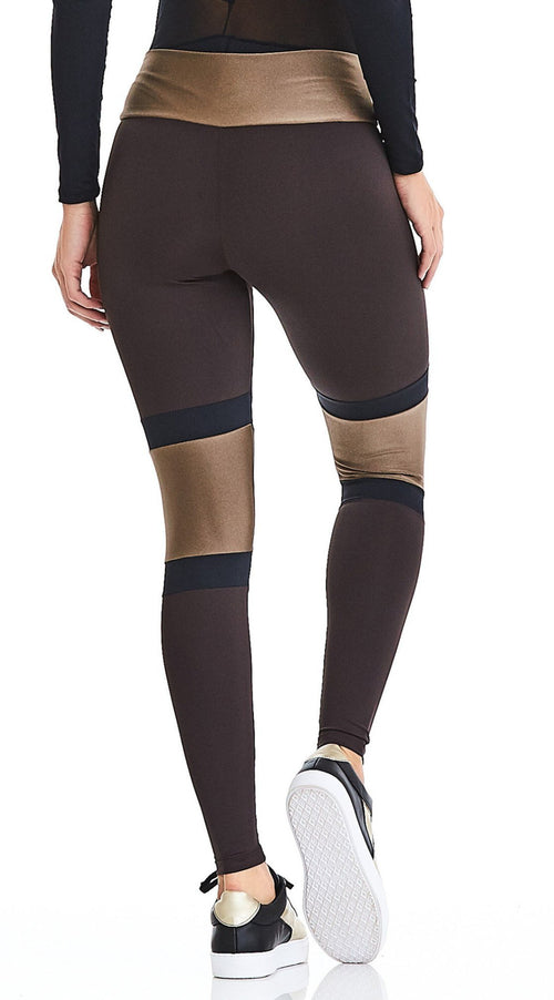 CajuBrasil USA Luxury Upscale Fitness Leggings ROCK SURF - Chocolate Brown 9030