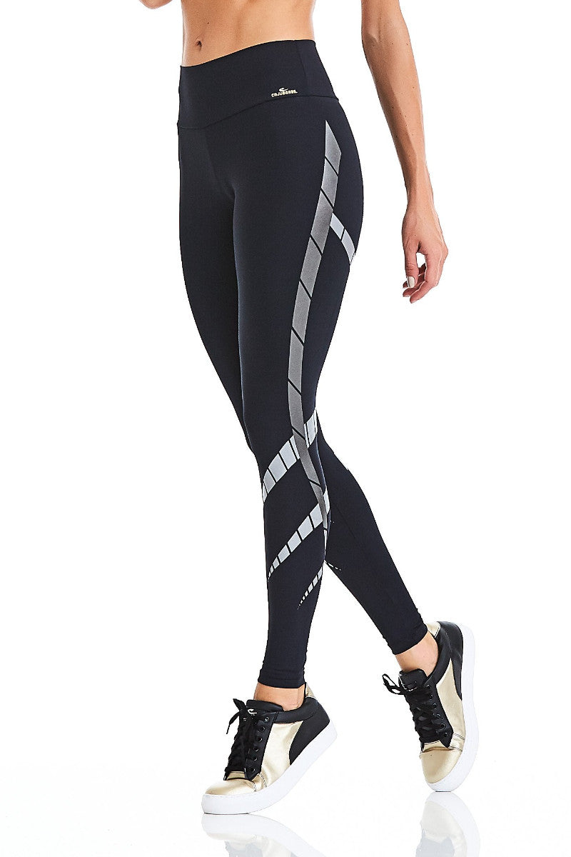 CajuBrasil USA Luxury Upscale Fitness Leggings ROCK ART - Black 9034