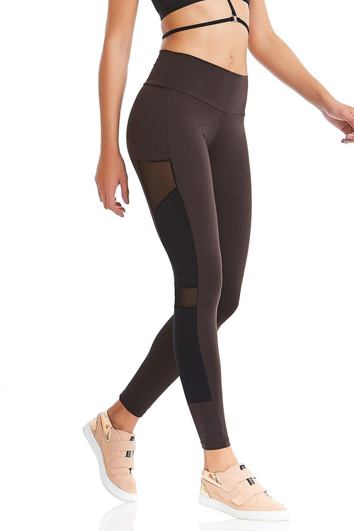 CajuBrasil USA 9319 Brazilian Fitness Leggings Rock - Chocolate Brown
