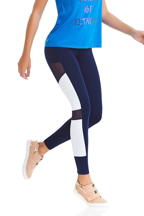 CajuBrasil USA Brazilian Fashion Fitness Leggings Rock 9318  Navy Blue